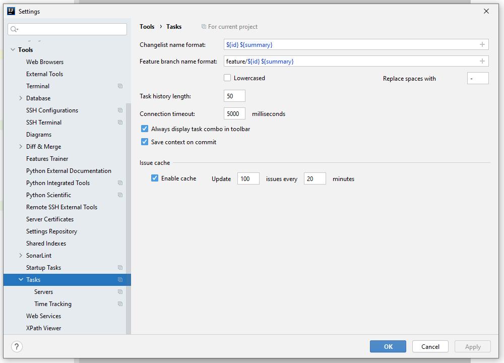 IntelliJ IDEA tasks option