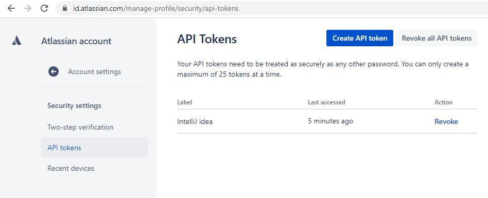 Jira API tokens page